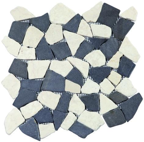 plaque de galets opus mix blanc gris sur filet brico d p t. Black Bedroom Furniture Sets. Home Design Ideas