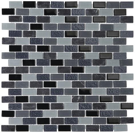 mosa que p te de verre mix pierre noir gris brico d p t. Black Bedroom Furniture Sets. Home Design Ideas