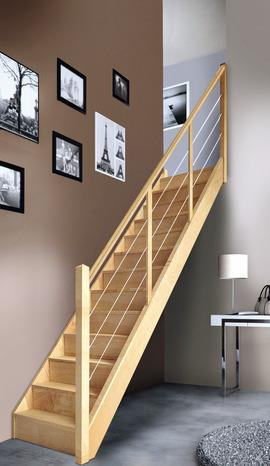 escalier droit en h tre avec rampe c bles vol e droite rampe c bles brico d p t. Black Bedroom Furniture Sets. Home Design Ideas