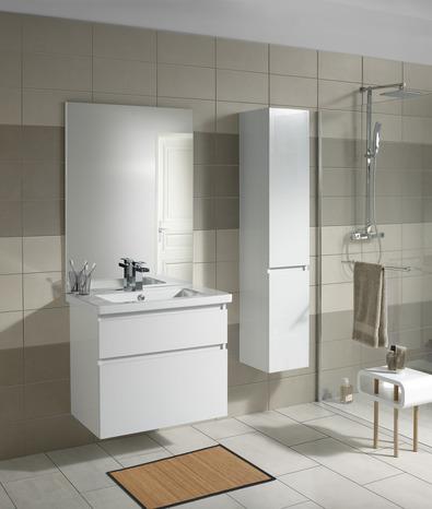 Meuble sous vasque attitude laqu blanc brillant h 65 cm - Meuble vasque salle de bain brico depot ...