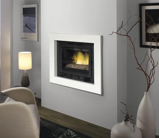 Habillage de foyer valence blanc en pierre naturelle 70x80 mm brico d p t - Nettoyage pierre blanche cheminee ...
