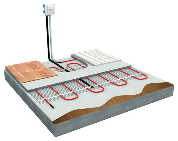 Kit plancher chauffant thin mat kit 2 m ensto brico for Plancher chauffant electrique renovation
