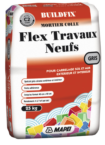 mortier colle flex travaux neufs c2 gris mapei magasin de bricolage brico d p t de lyon st. Black Bedroom Furniture Sets. Home Design Ideas
