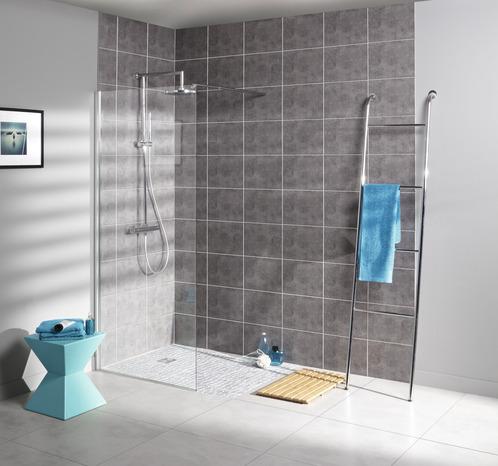 paroi de douche walk in aqua avec profil en aluminium chrom cm l 90 cm brico d p t. Black Bedroom Furniture Sets. Home Design Ideas