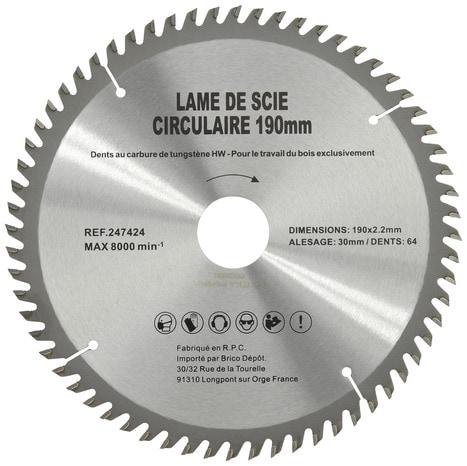 Lame carbure d190 30x64 t brico d p t - Scie circulaire brico depot ...