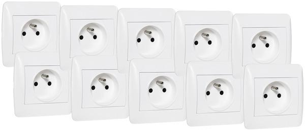 lot de 10 prises 2p t blanc brico d p t. Black Bedroom Furniture Sets. Home Design Ideas