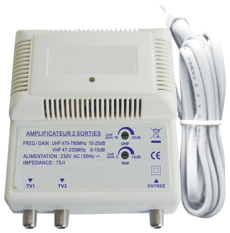 amplificateur 2 sorties pour signal et alimentation t l viseurs ou d codeur tnt brico d p t. Black Bedroom Furniture Sets. Home Design Ideas