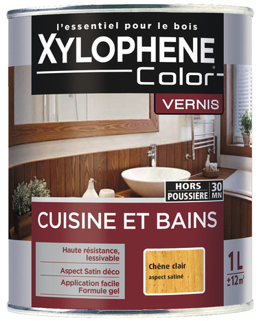 vernis bois de 1 l aspect satin ou mat incolore ou ch ne clair pour meubles dans les pi ces d. Black Bedroom Furniture Sets. Home Design Ideas