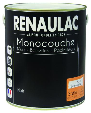 Peinture Noire Aspect Satin Pour Boiseries Et Radiateurs, 2,5 L   RENAULAC