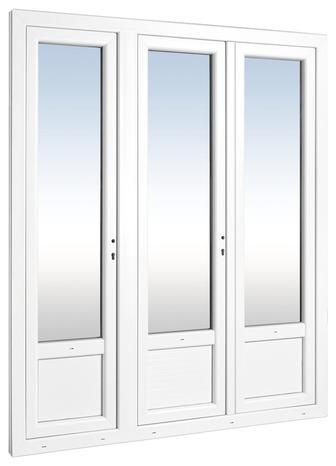 Porte Fenêtre Pvc Blanc 3 Vantaux Larg 180 X Haut 215 Cm Uw12