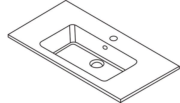 Plan pour vasque HARMONY en résine, H. 14,5 cm L. 90,4 cm P. 47,3 cm