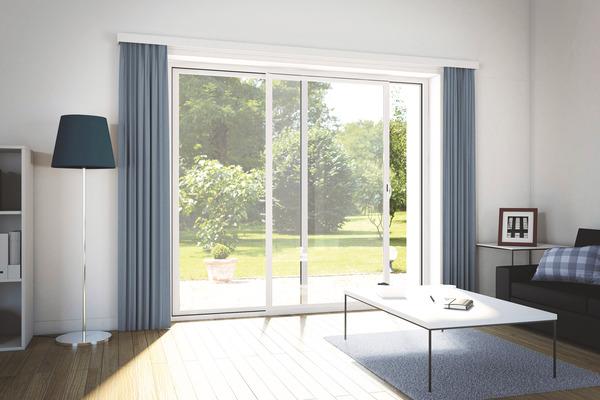 baie vitr e coulissante aluminium blanc deux vantaux l. Black Bedroom Furniture Sets. Home Design Ideas