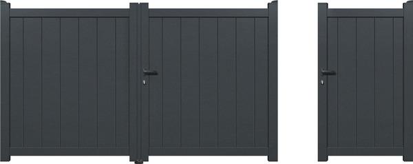 portail aluminium battant ovedio gris anthracite l 3 06 x h 1 60 m brico d p t. Black Bedroom Furniture Sets. Home Design Ideas