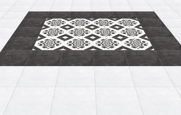 carrelage en gr s maill blanc et noir pour sol int rieur. Black Bedroom Furniture Sets. Home Design Ideas