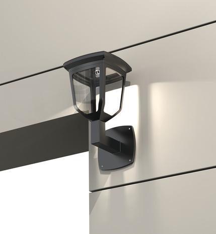 applique solaire noire led 200 lm brico d p t. Black Bedroom Furniture Sets. Home Design Ideas