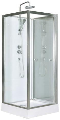 Cabine de douche blanc profilés en aluminium chromé H. 218 cm, L. 80 ...