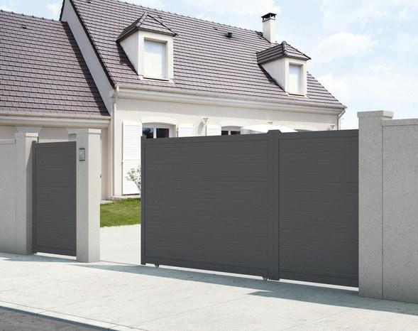 portail aluminium plein coulissant bilbao gris anthracite l 3 x h 1 60 m brico d p t. Black Bedroom Furniture Sets. Home Design Ideas