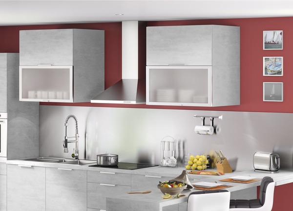Fa ade cadre aluminium verre blanc brico d p t for Facade cuisine aluminium