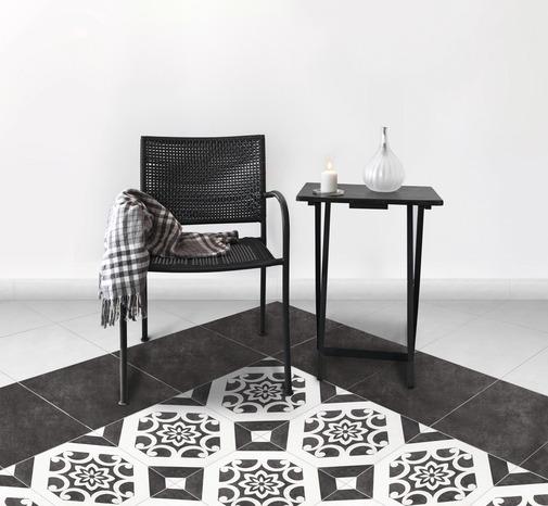 en grès émaillé blanc et noir pour sol intérieur L. 32,5 cm l. 32,5