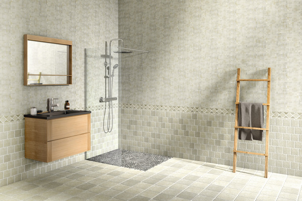 Mosaïque pierre naturelle TRAVERTIN beige 30x30 cm carreau 10x10 cm ...