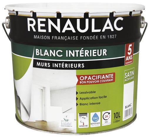 Peinture blanche satin pour murs et plafonds 10 L Brico Dép u00f4t # Peinture Bois Interieur Brico Depot