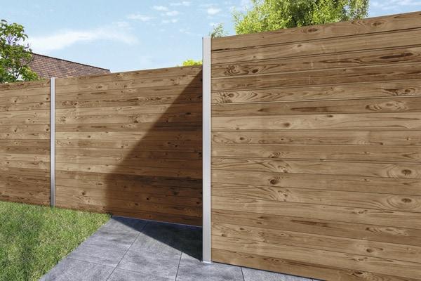 lame de cl ture en pic a teint e marron l 2 40 m x l 14. Black Bedroom Furniture Sets. Home Design Ideas