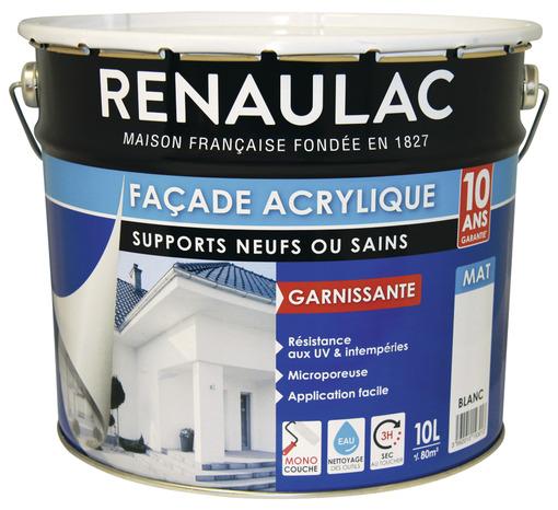 Peinture De Façade Blanc Mat Acrylique Monocouche 10 L - Brico Dépôt