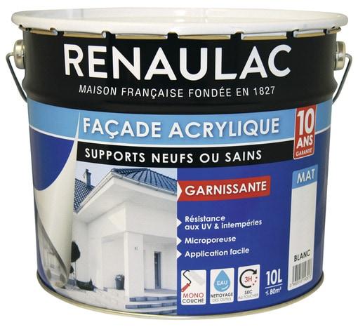 Peinture de fa ade blanc mat acrylique monocouche 10 l for Peinture acrylique facade exterieure