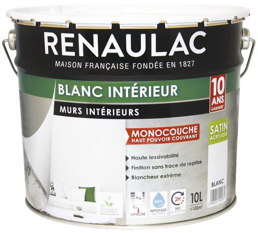 peinture monocouche blanc satin acrylique pour peindre et r nover les murs et plafonds 10 l. Black Bedroom Furniture Sets. Home Design Ideas