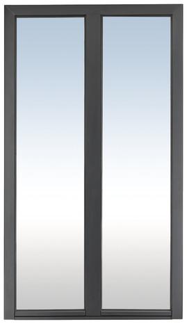 Porte Fenetre Aluminium Gris 1 Vantail Tirant Gauche Larg 80 X Haut 205 Cm Uw