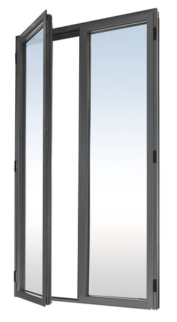 Porte Fenêtre Aluminium Gris 1 Vantail Tirant Droit Larg 80 X Haut