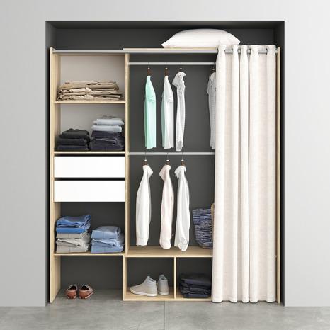dressing h 200 x l de 120 180 x p 48 cm avec rideau. Black Bedroom Furniture Sets. Home Design Ideas