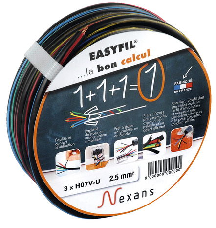 C ble easyfil section 1 5 cm2 25 m noir brico d p t for Cable 3g2 5 brico depot
