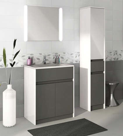 fa ence gris clair aspect brillant pour salle de bain. Black Bedroom Furniture Sets. Home Design Ideas