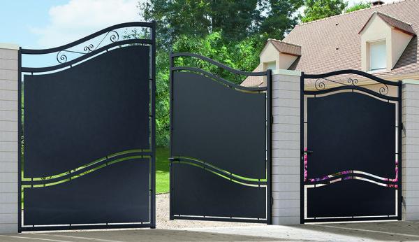 portail fer battant glasgow noir l 3 06 x h 2 10 m brico d p t. Black Bedroom Furniture Sets. Home Design Ideas