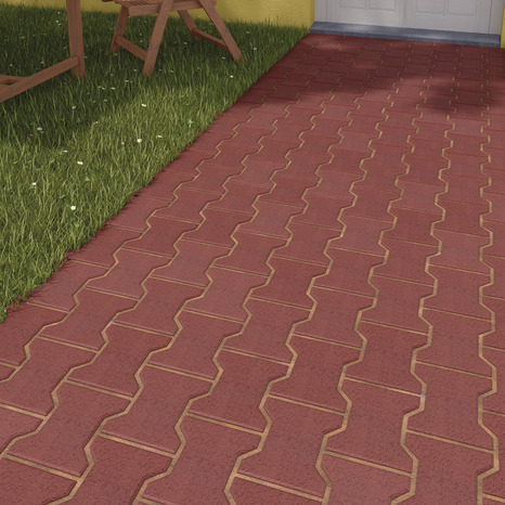 pav de jardin en b ton rouge forme en i l 16 5 cm l 19 8 cm ep 4 2 cm brico d p t. Black Bedroom Furniture Sets. Home Design Ideas