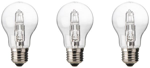 3 ampoules halog ne e27 57w 75w le lot de 3 ampoules brico d p t. Black Bedroom Furniture Sets. Home Design Ideas