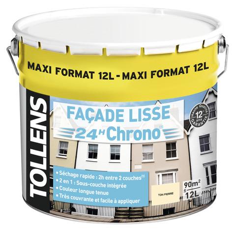 peinture facade acrylique ton pierre 12l 12 l blanc ou ton pierre brico d p t. Black Bedroom Furniture Sets. Home Design Ideas