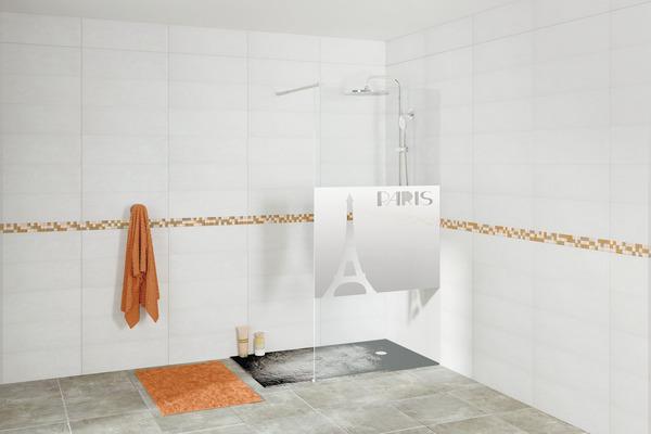 paroi de douche avec motif paris brico d p t. Black Bedroom Furniture Sets. Home Design Ideas