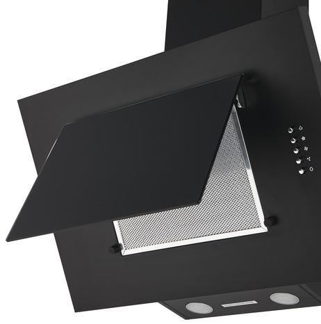 hotte inclin e verre noir 60 cm la hotte brico d p t. Black Bedroom Furniture Sets. Home Design Ideas