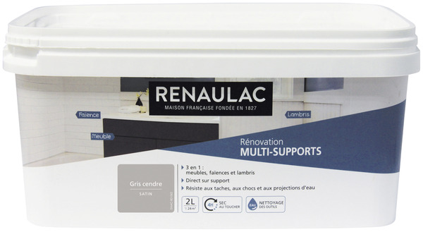 PEINTURE DE RÉNOVATION MULTI-SUPPORTS 3 EN 1 SATIN GRIS CENDRÉ 2 L 2 ...