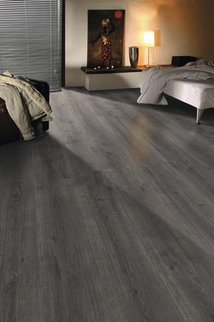 sol stratifi clipser imitation ch ne gris fonc l 128 6 cl l 28 2 cm ep 8 mm brico d p t. Black Bedroom Furniture Sets. Home Design Ideas