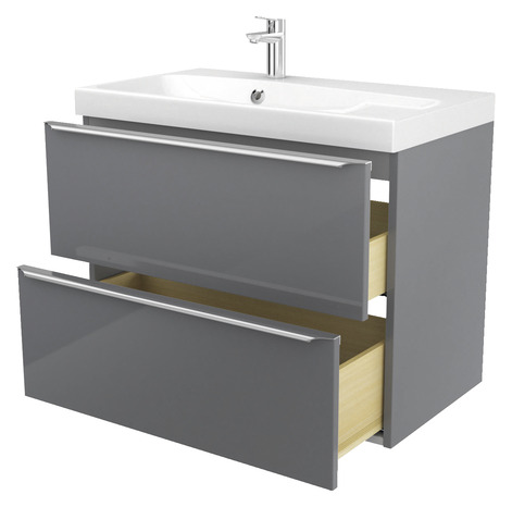 meuble suspendre gris imandra l 80 x h 60 x p 45. Black Bedroom Furniture Sets. Home Design Ideas
