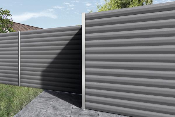 lame de cl ture en acier l 1 76 cm l 15 cm ep 21 mm gris anthracite brico d p t. Black Bedroom Furniture Sets. Home Design Ideas