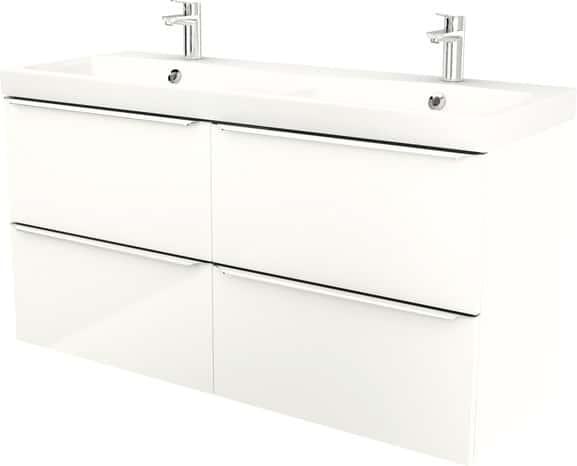 Meuble sous vasque suspendre blanc imandra l 120 x for Meuble imandra