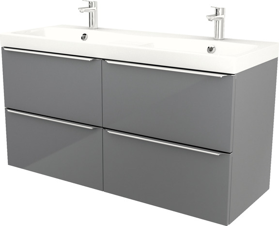Meuble sous vasque suspendre gris imandra l 120 x h for Meuble imandra