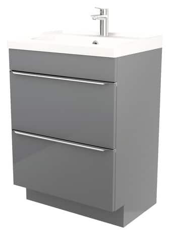meuble sous vasque poser gris imandra l 60 x h 82 x p 45 cm brico d p t. Black Bedroom Furniture Sets. Home Design Ideas