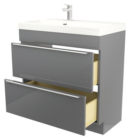 meuble sous vasque à poser gris long. 80 x haut. 82 cm - brico dépôt