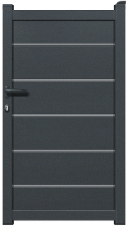 portillon aluminium plein aracaju gris anthracite l 1 04 x h 1 76 m brico d p t. Black Bedroom Furniture Sets. Home Design Ideas