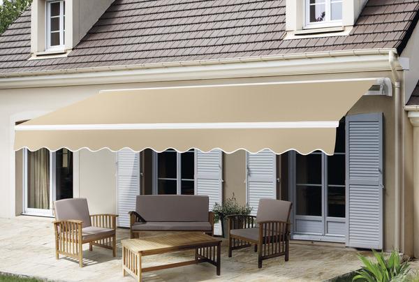 STORE BANNE MANUEL SANS COFFRE   TOILE POLYESTER 270 G/m²   L. 4 X L.